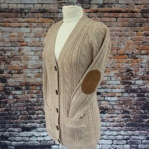 Zara Knit Cable Cardigan Elbow Patch Tan Size S